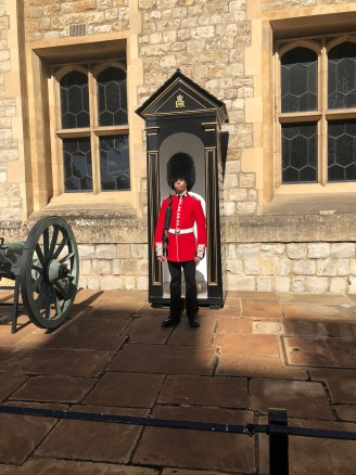 A guard outside the Crown Jewels.
