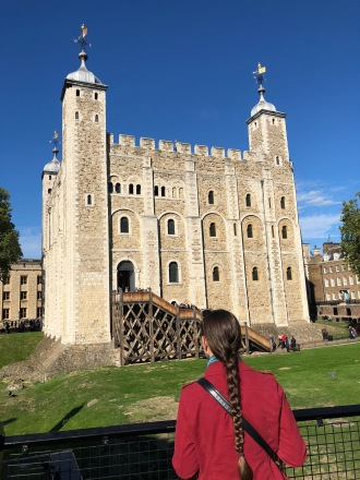 Zoe takes in the gorgeous morning view of the white tower.