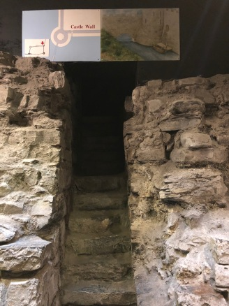 An excavated stairway that used to lead to the moat.